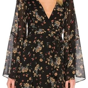 Free People Lilou Chiffon Dress -Black/Multi- NWOT